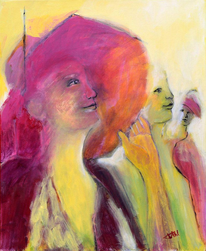 Femme au chapeau, Taille 60 x 73 cm, Acrylique sur toile