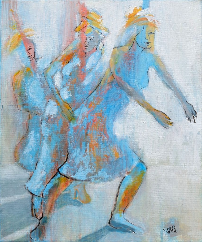 Dancers in blue, Size 46 x 55 cm, Acrylics on canvas