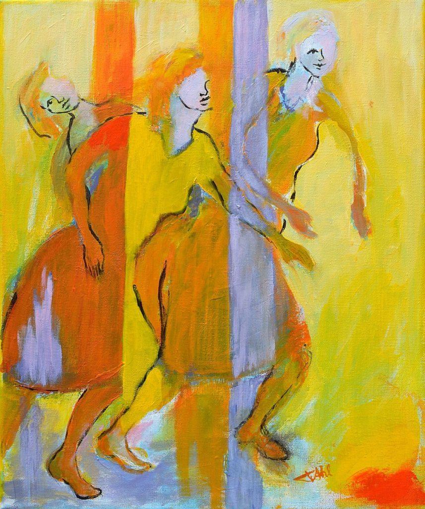 Les danseuses jaunes, Taille 46 x 55 cm, Acrylique sur toile