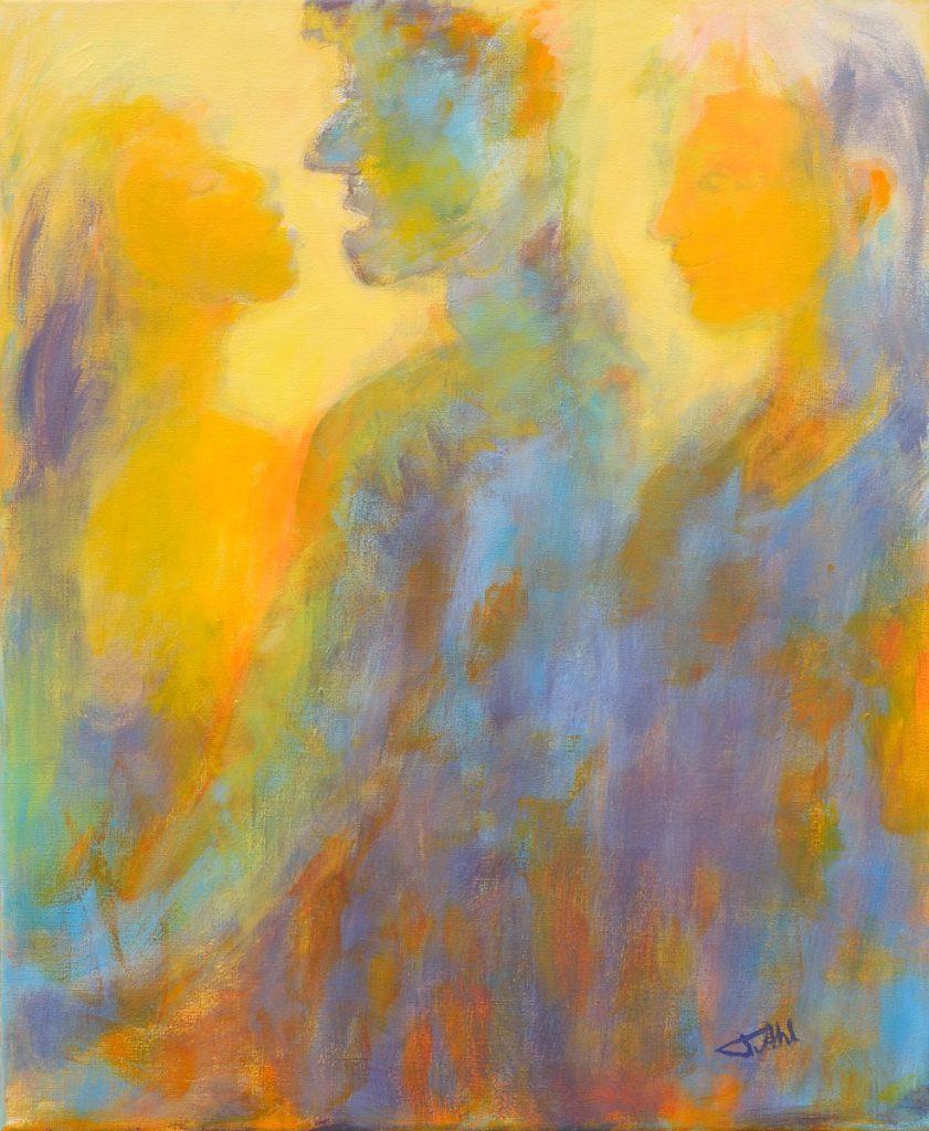 Sentiments réciproques, Taille 60 x 73 cm, Acrylique sur toile