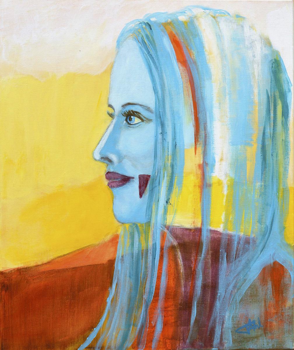 Inconnue 2, Size 46 x 55 cm, Acrylics on canvas