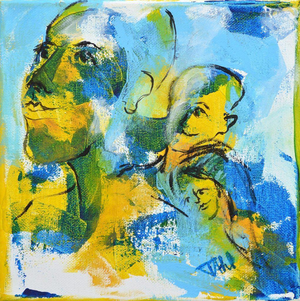 Pensée 3, Taille 20 x 20 cm, Acrylique sur toile
