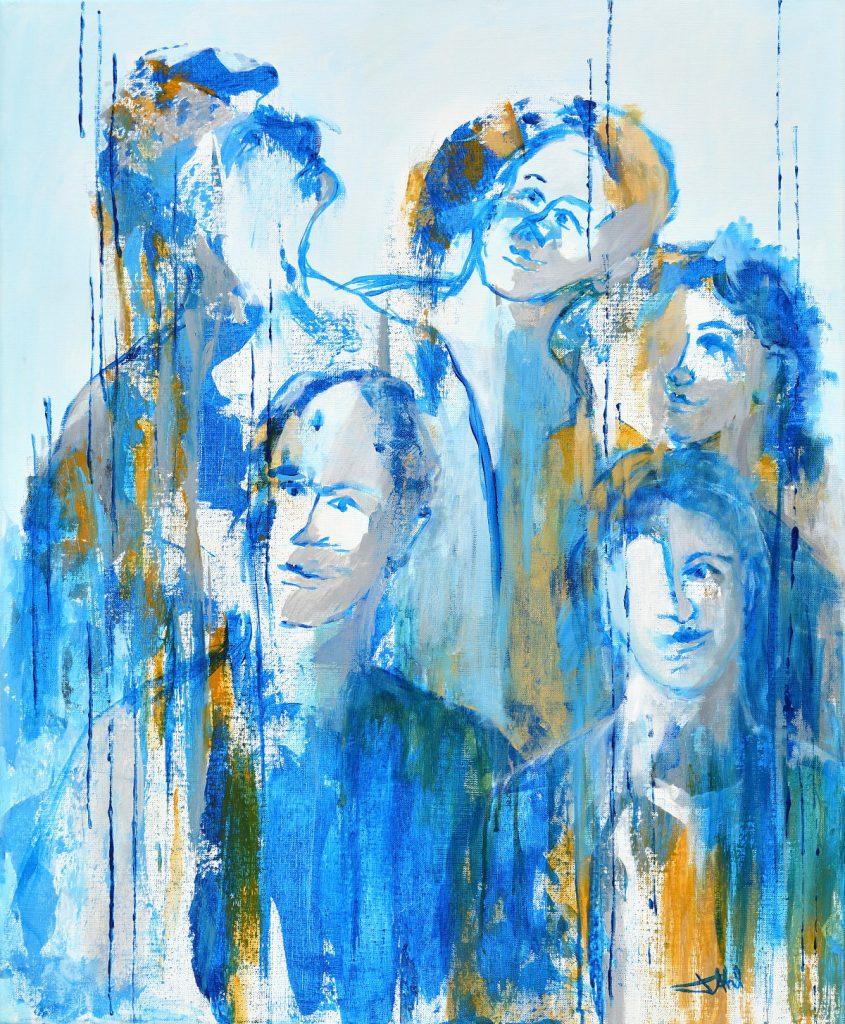 Les Copains, Taille 60 x 73 cm, Acrylique sur toile
